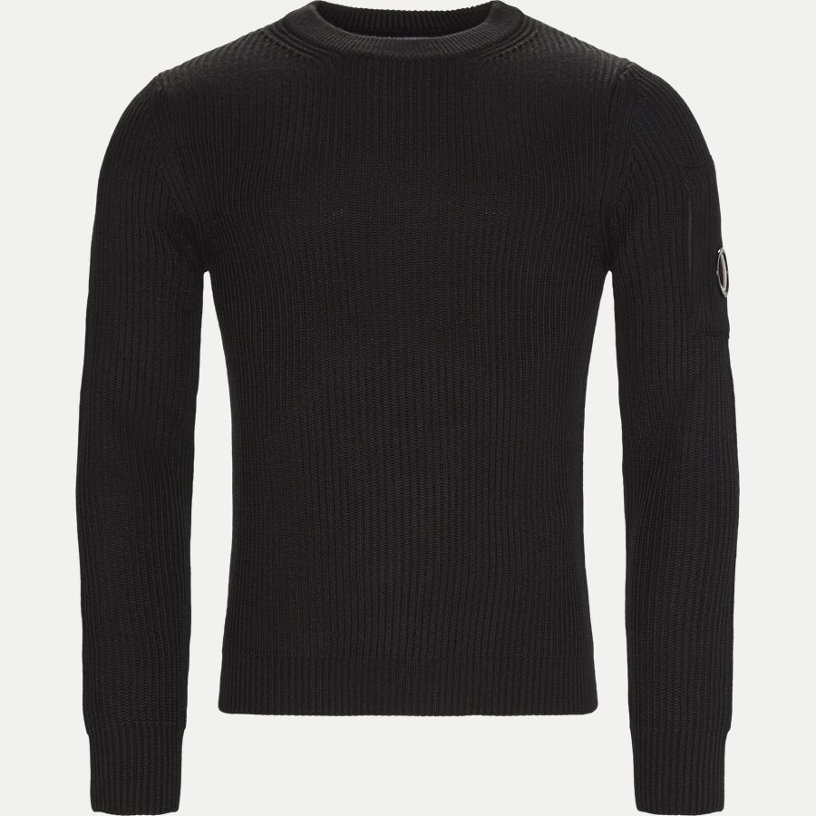KN122A 005292A - Merino Fisherman Crew Neck Sweater - Strik - Regular - SORT - 1