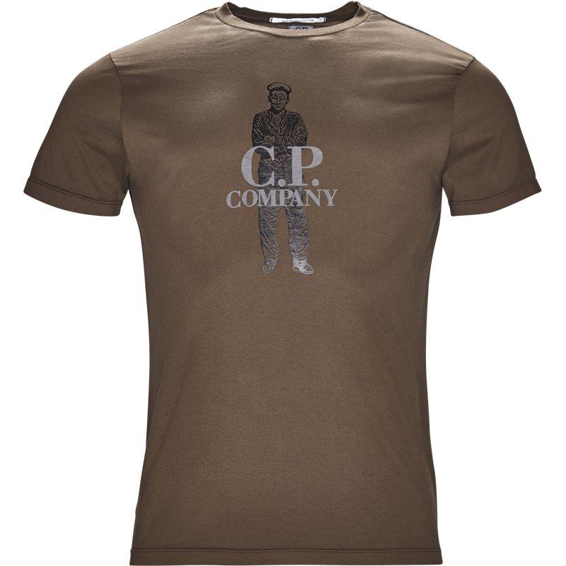 c.p. company C.p. company - crew neck logo t-shirt på kaufmann.dk