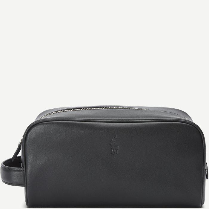 Leather Washbag - Tasker - Sort