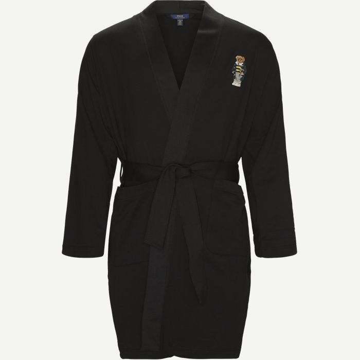 Fleece Kimono Robe - Undertøj - Regular - Sort