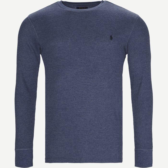 Waffel Crew Neck Long Sleeve - T-shirts - Regular - Denim