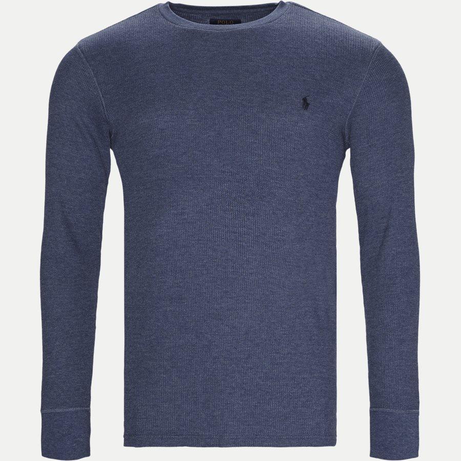 714705228. - Waffel Crew Neck Long Sleeve - T-shirts - Regular - DENIM - 1