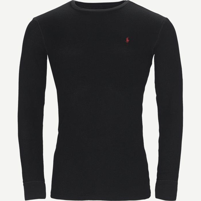 Waffel Crew Neck Long Sleeve - T-shirts - Regular - Sort