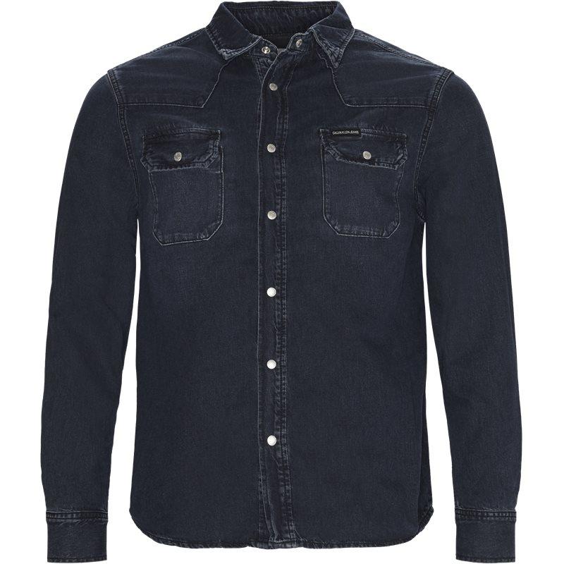 calvin klein jeans Calvin klein jeans regular fit j30j308324 archive western  skjorter blue/black på axel.dk