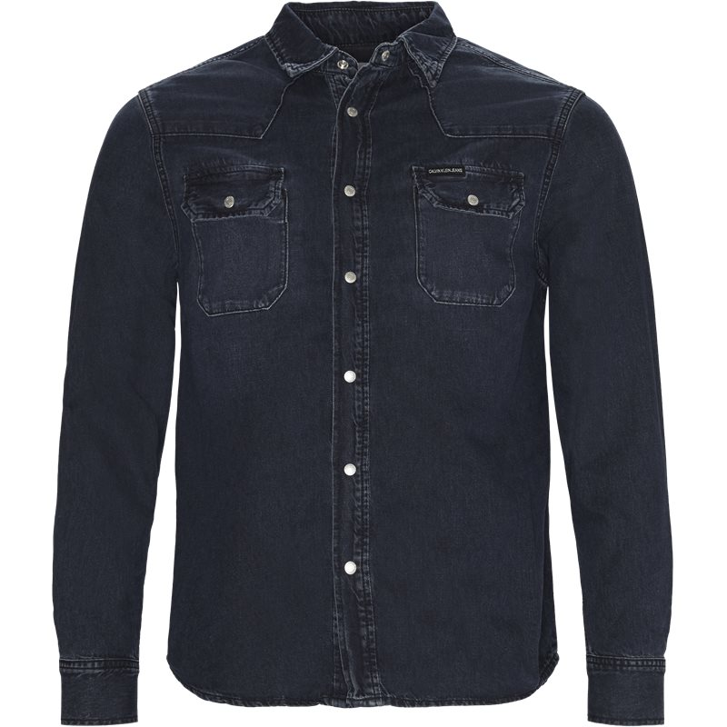 calvin klein jeans – Calvin klein jeans regular fit j30j308324 archive western  skjorter blue/black på axel.dk