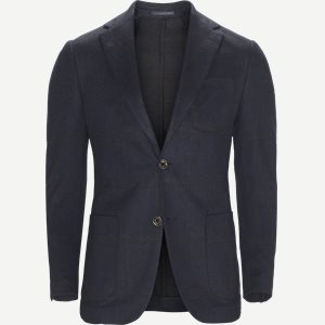 Menty Check Jersey Blazer Regular | Menty Check Jersey Blazer | Blå