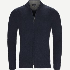 Full Zip Cardigan Structure Knit Regular | Full Zip Cardigan Structure Knit | Blå