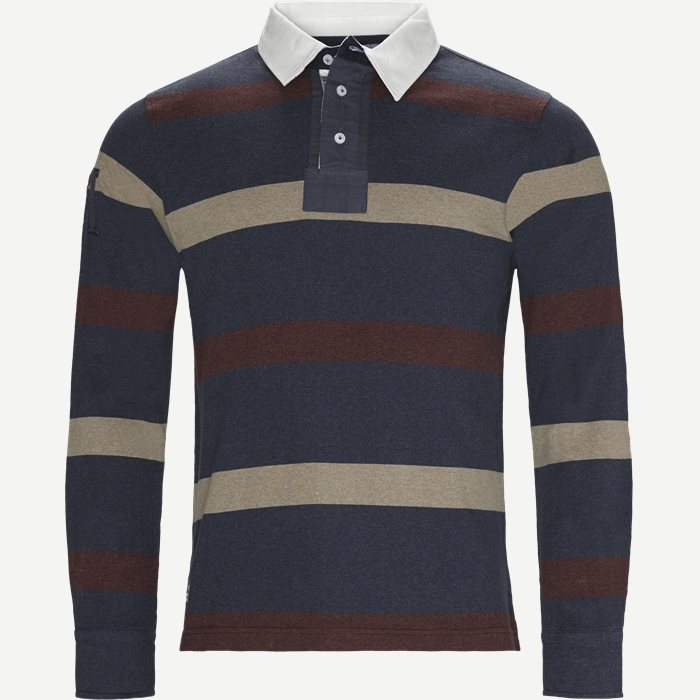 Allover Striped Rugger Langærmet Polo T-shirt - T-shirts - Regular - Blå