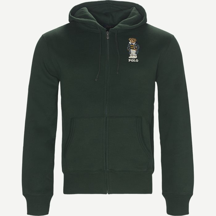 Bear Full Zip Hoodie Sweatshirt - Sweatshirts - Regular - Grøn
