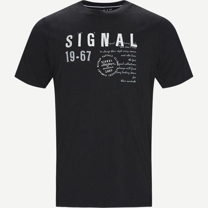 Wayne Tee KM  - T-shirts - Regular - Sort