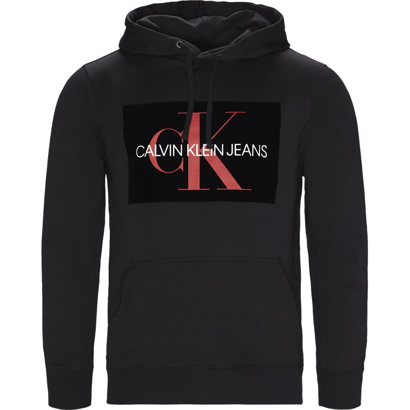 Image of   CALVIN KLEIN JEANS Regular fit J30J310339 MONOGRAM FLOCK BOX HOODIE Sweatshirts Black