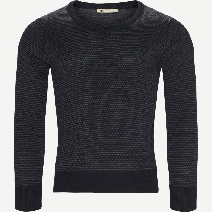 Stellan V-Neck Knit - Strik - Regular - Blå