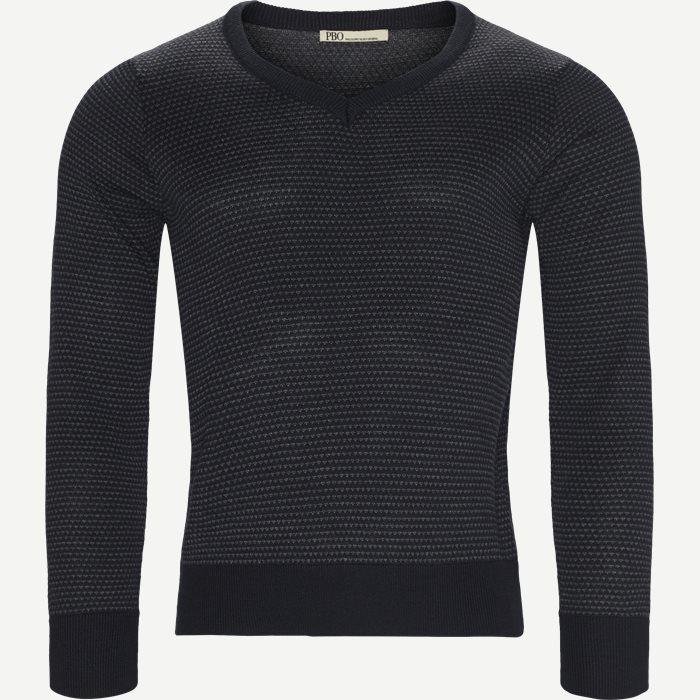 Stellan V-Neck Knit - Strik - Regular - Blå