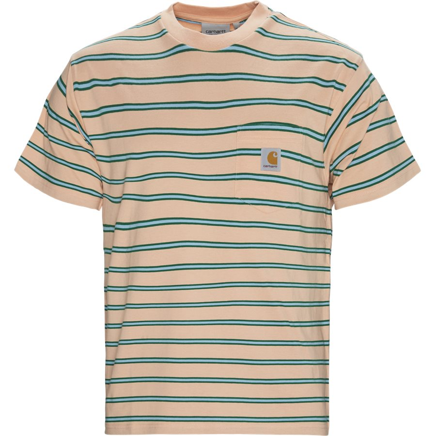 S/S HOUSTON POCKET I026370 - Houston Pocket Tee - T-shirts - Regular - STRIPE/PEACH - 1