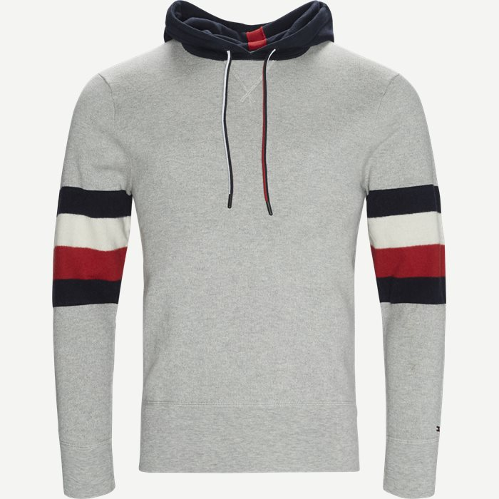 Stripe Detail Hoody - Sweatshirts - Relaxed fit - Grå
