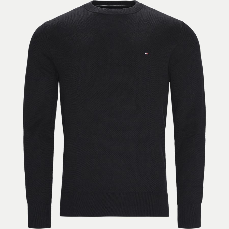 COTTON MESH C-NECK - Cotton Mesh Structured Knit - Strik - Regular - SORT - 1