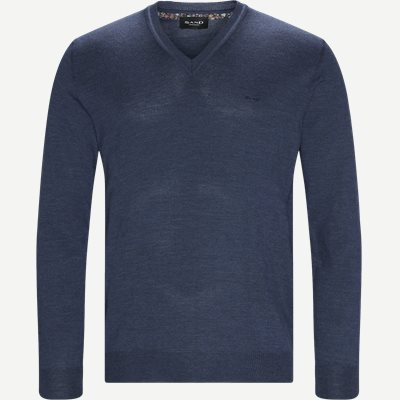 Merino Dustin Strik Regular | Merino Dustin Strik | Denim