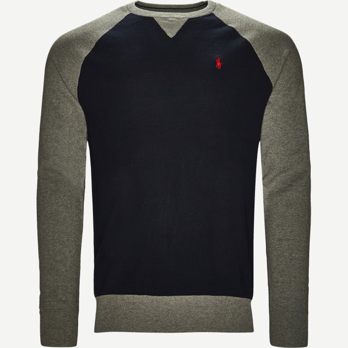 Two Tone Crew Neck Knit - Strik - Regular - Blå