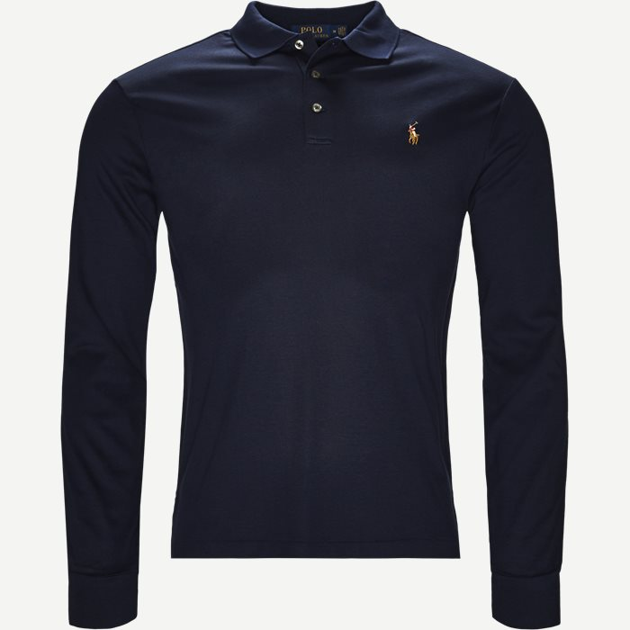 Long Sleeve Polo T-shirt - T-shirts - Slim - Blå