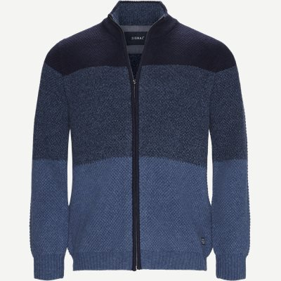 Harold Stripe Full Zip Knit Regular | Harold Stripe Full Zip Knit | Blå
