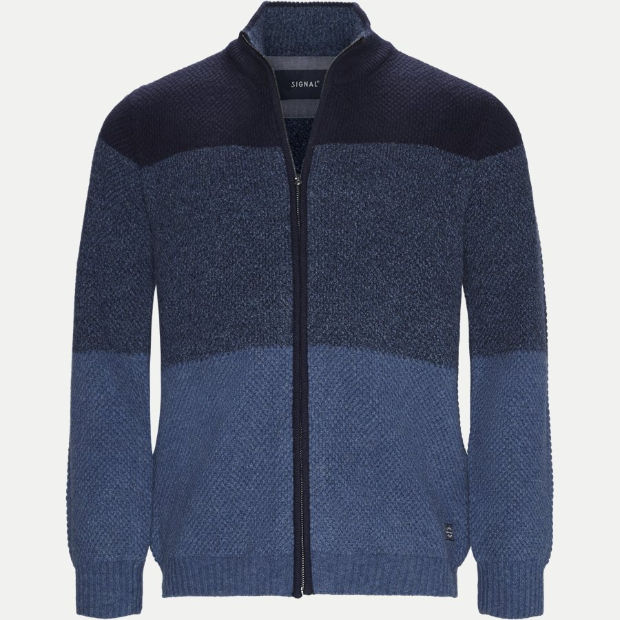 12260 1176 - Harold Stripe Full Zip Knit - Strik - Regular - BLÅ - 1