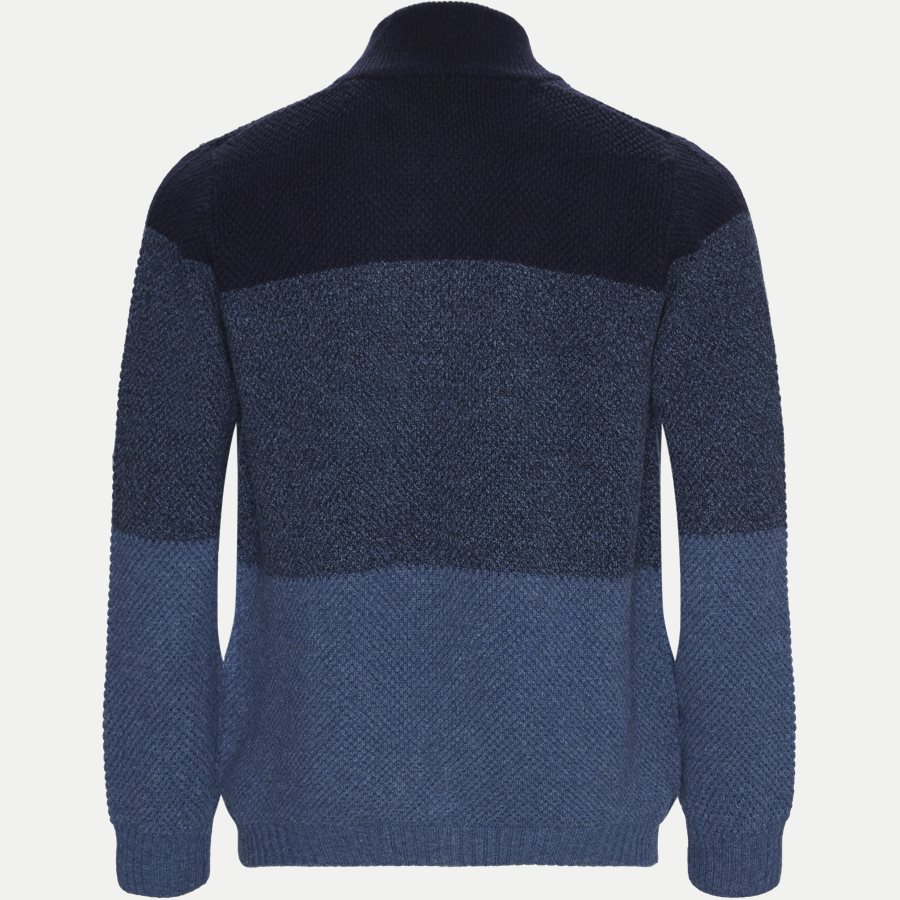 12260 1176 - Harold Stripe Full Zip Knit - Strik - Regular - BLÅ - 2