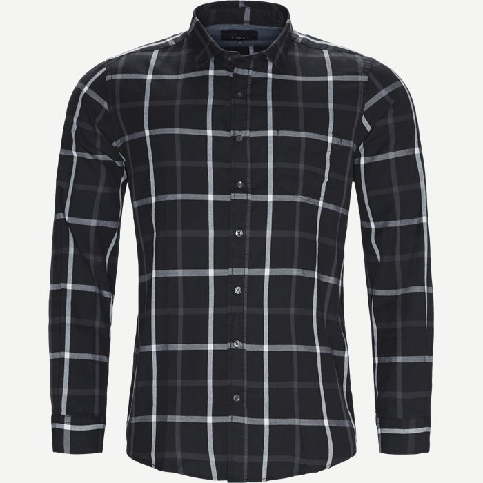 Danny Herringbone Shirt - Skjorter - Regular - Sort