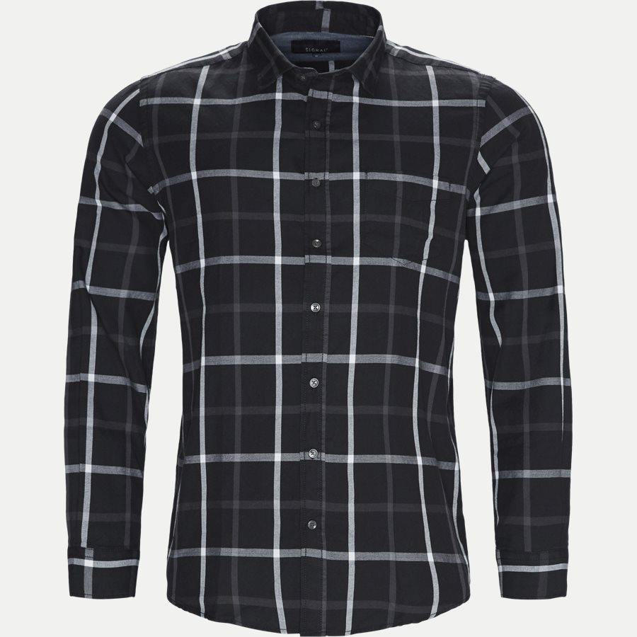 15271 1181 - Danny Herringbone Shirt - Skjorter - Regular - SORT - 1