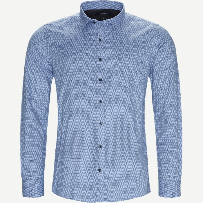 Dustin Print Shirt - Skjorter - Regular - Blå