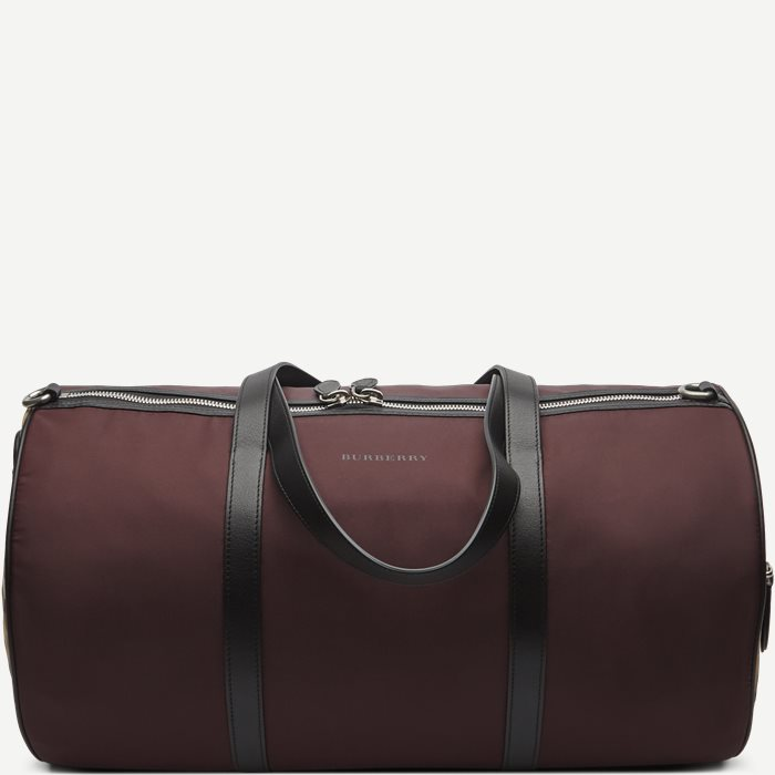 Medium Barrel Holdall Nylon Vintage Check Mix Bag - Tasker - Bordeaux