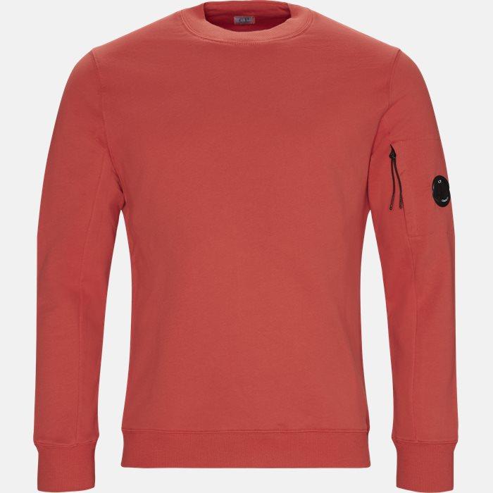 Crew Neck Diagonal Fleece Sweatshirt - Sweatshirts - Regular - Rød