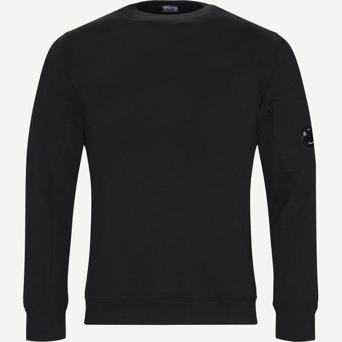 Crew Neck Diagonal Fleece Sweatshirt - Sweatshirts - Regular - Sort