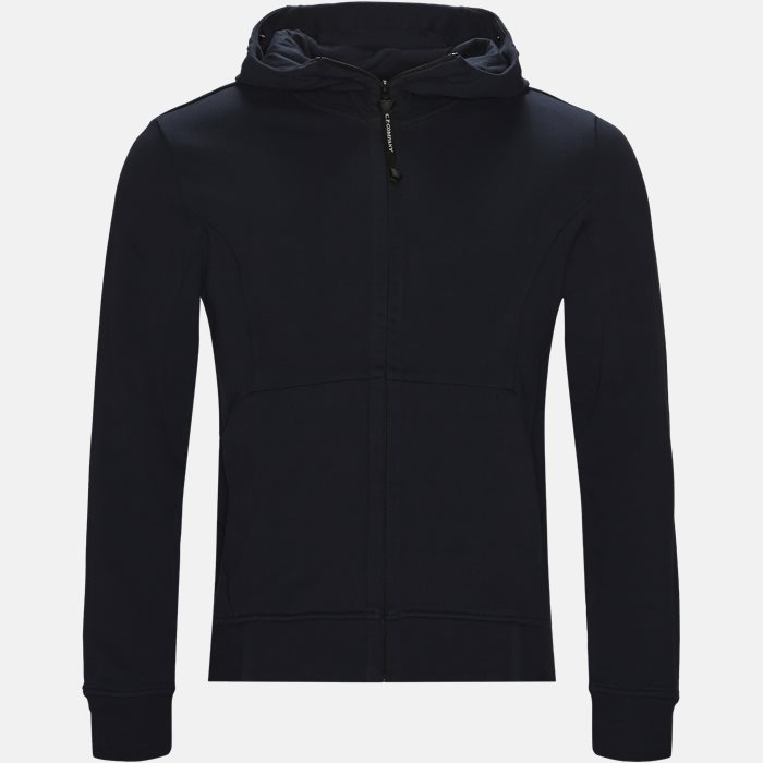 Hooded Open Diagonal Fleece Sweatshirt  - Sweatshirts - Regular fit - Blå