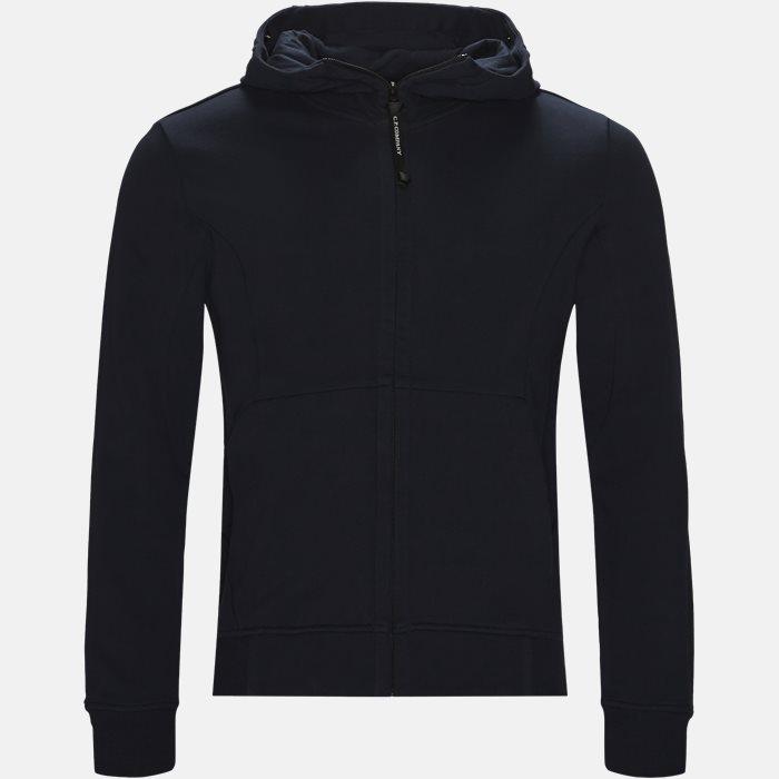 Hooded Open Diagonal Fleece Sweatshirt  - Sweatshirts - Regular fit - Blå