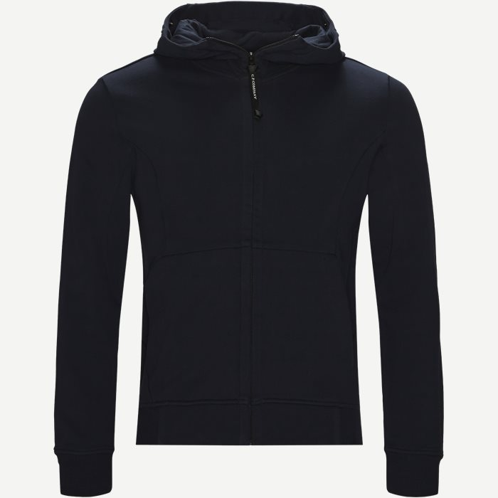 Hooded Open Diagonal Fleece Sweatshirt  - Sweatshirts - Regular - Blå
