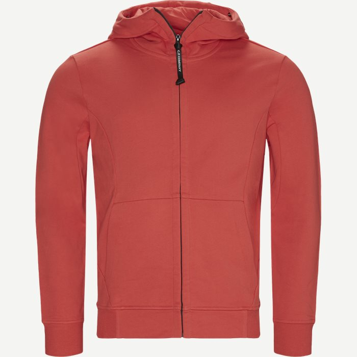Hooded Open Diagonal Fleece Sweatshirt  - Sweatshirts - Regular fit - Rød