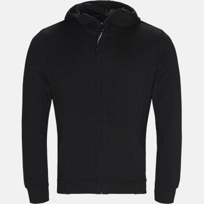 Hooded Open Diagonal Fleece Sweatshirt  Regular fit | Hooded Open Diagonal Fleece Sweatshirt  | Sort
