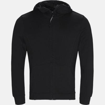 Hooded Open Diagonal Fleece Sweatshirt  Regular | Hooded Open Diagonal Fleece Sweatshirt  | Sort