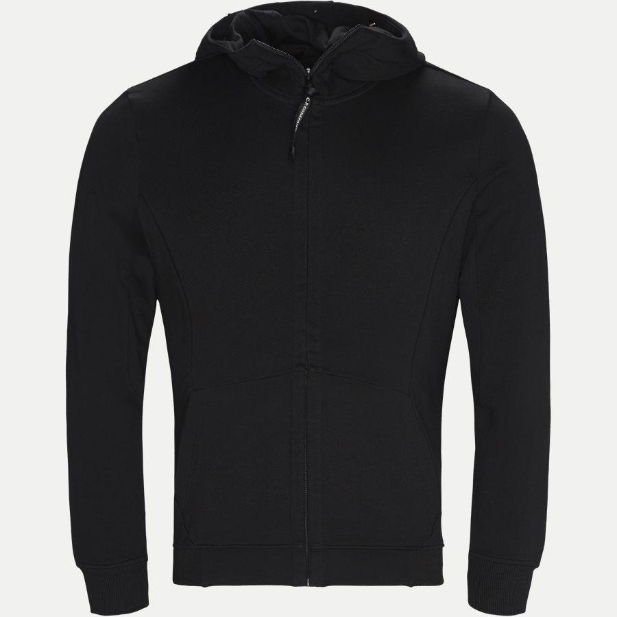 SS009A 005160W - Hooded Open Diagonal Fleece Sweatshirt  - Sweatshirts - Regular fit - SORT - 1