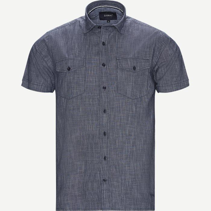 Manfred Slub Kortærmet Skjorte - Kortærmede skjorter - Regular - Blå