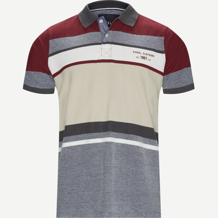 Niel Big Stripe Polo T-shirt - T-shirts - Regular - Bordeaux
