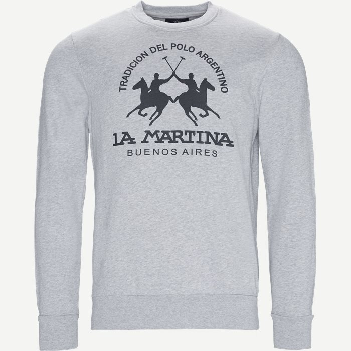 Man Crew Neck Cotton Fleece Sweatshirt - Sweatshirts - Regular - Grå