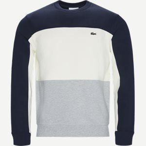 Crew Neck Colourblock Pique Fleece Sweatshirt Regular   Crew Neck Colourblock Pique Fleece Sweatshirt   Blå