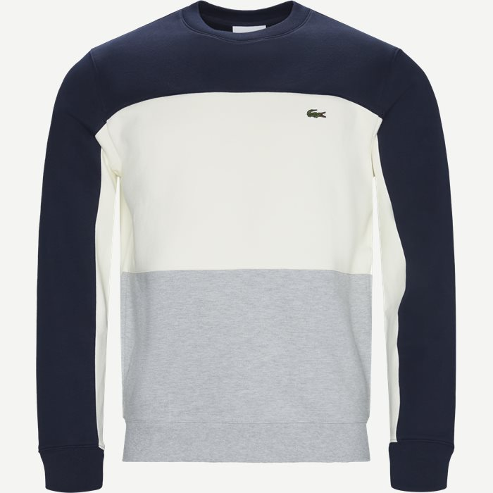 Crew Neck Colourblock Pique Fleece Sweatshirt - Sweatshirts - Regular - Blå