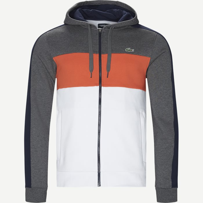 Colorblock Fleece Zippered Sweatshirt - Sweatshirts - Regular - Grå