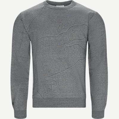 Sport Oversized Croc Brushed Fleece Sweatshirt Regular | Sport Oversized Croc Brushed Fleece Sweatshirt | Grå