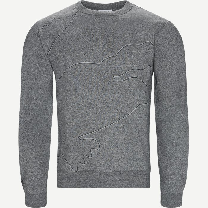 Sport Oversized Croc Brushed Fleece Sweatshirt - Sweatshirts - Regular - Grå