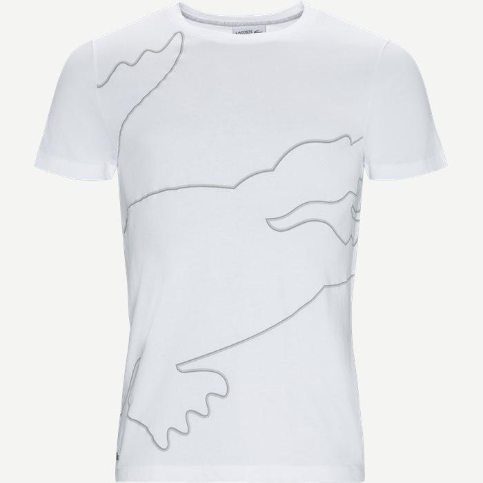 Sport Crew Neck Oversized Croc Print Tech Jersey T-shirt - T-shirts - Regular - Hvid