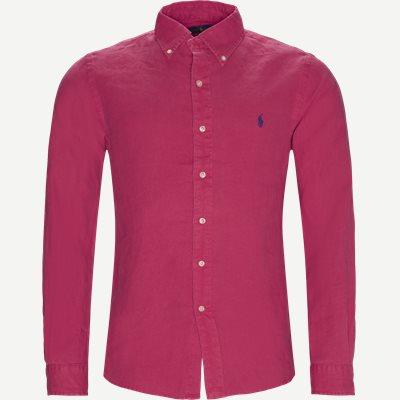 Hør Button-Down Skjorte Slim | Hør Button-Down Skjorte | Rød