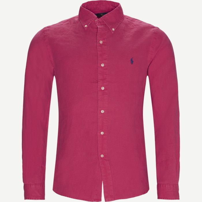 Hør Button-Down Skjorte - Skjorter - Slim - Rød